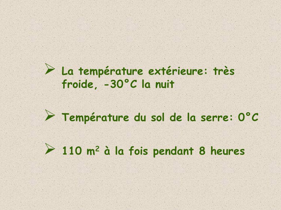 La température extérieure: très froide, -30°C la nuit Température du sol de la serre: 0°C 110 m 2 à la fois pendant 8 heures