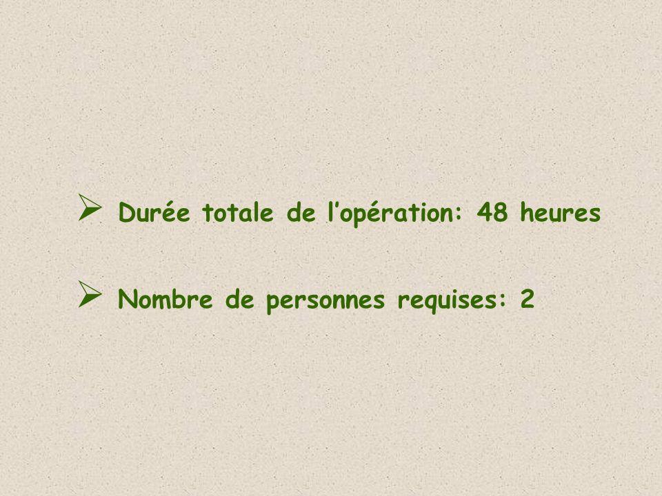 Durée totale de lopération: 48 heures Nombre de personnes requises: 2