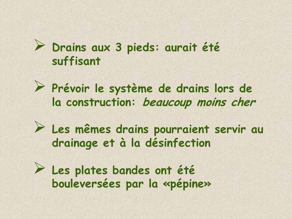 Drains aux 3 pieds: aurait été suffisant Prévoir le système de drains lors de la construction: beaucoup moins cher Les mêmes drains pourraient servir