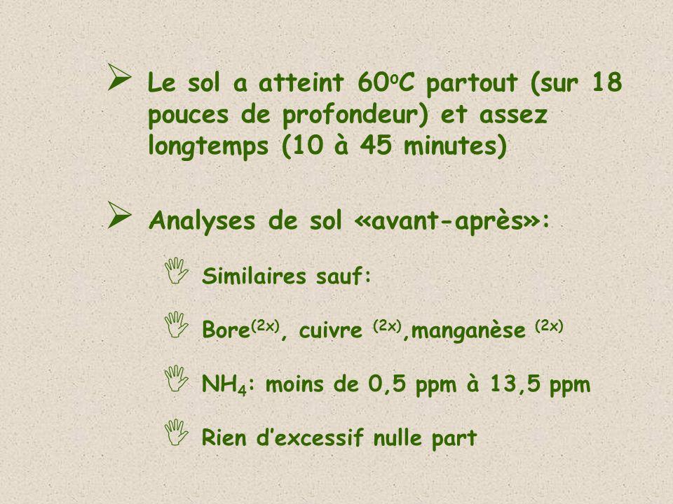 Le sol a atteint 60 o C partout (sur 18 pouces de profondeur) et assez longtemps (10 à 45 minutes) Analyses de sol «avant-après»: Similaires sauf: Bor