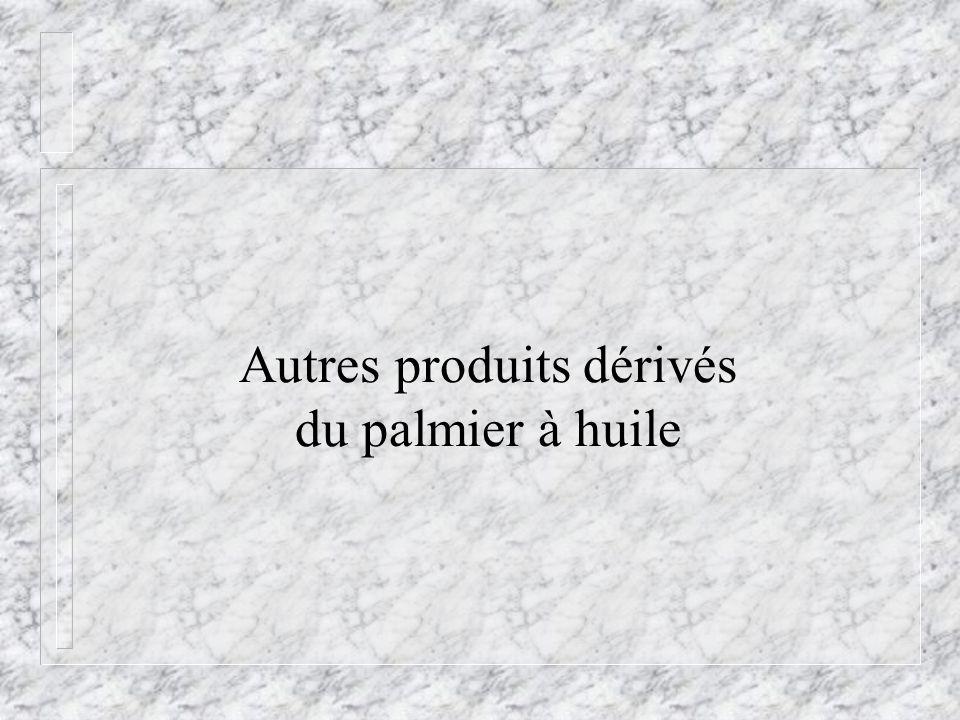 Autres produits dérivés du palmier à huile
