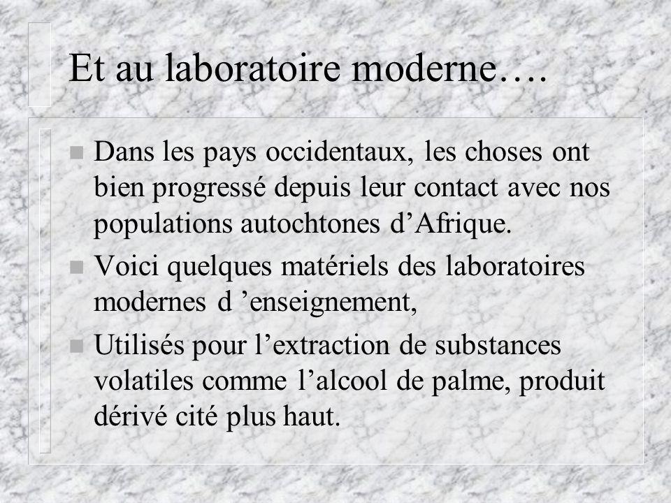 Et au laboratoire moderne…. n Dans les pays occidentaux, les choses ont bien progressé depuis leur contact avec nos populations autochtones dAfrique.