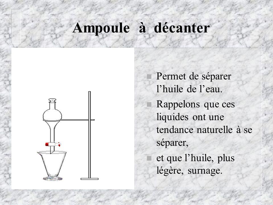Ampoule à décanter n Permet de séparer lhuile de leau. n Rappelons que ces liquides ont une tendance naturelle à se séparer, n et que lhuile, plus lég