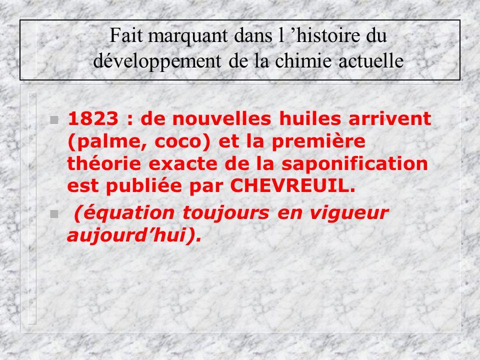 Fait marquant dans l histoire du développement de la chimie actuelle n 1823 : de nouvelles huiles arrivent (palme, coco) et la première théorie exacte