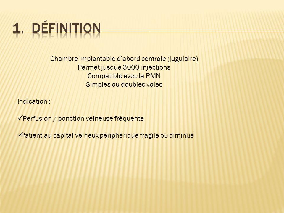 Chambre implantable dabord centrale (jugulaire) Permet jusque 3000 injections Compatible avec la RMN Simples ou doubles voies Indication : Perfusion /