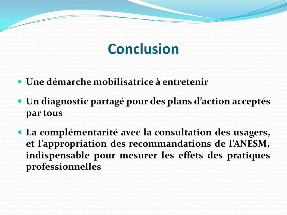 Conclusion Une démarche mobilisatrice à entretenir Un diagnostic partagé pour des plans daction acceptés par tous La complémentarité avec la consultation des usagers, et lappropriation des recommandations de lANESM, indispensable pour mesurer les effets des pratiques professionnelles