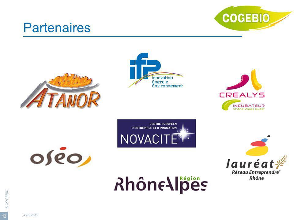 © COGEBIO Avril 2012 12 Partenaires