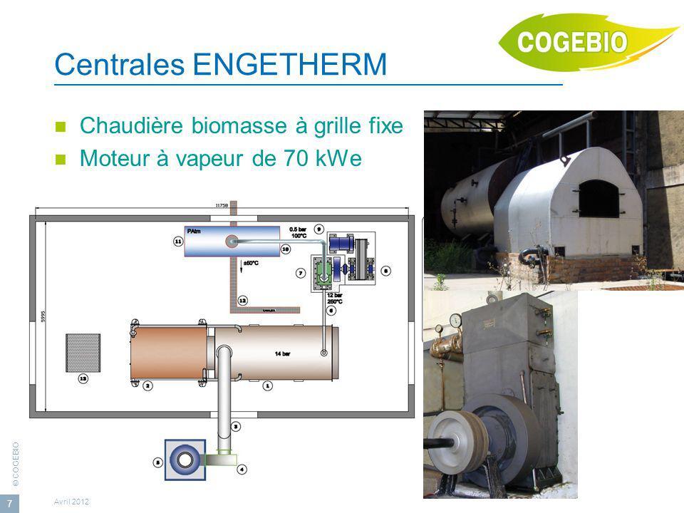 © COGEBIO Avril 2012 7 Centrales ENGETHERM Chaudière biomasse à grille fixe Moteur à vapeur de 70 kWe