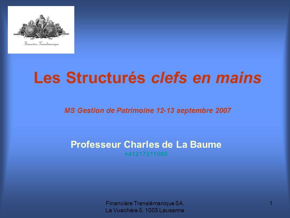 Financière Translémanique SA, La Vuachère 5, 1005 Lausanne 1 Les Structurés clefs en mains MS Gestion de Patrimoine 12-13 septembre 2007 Professeur Ch