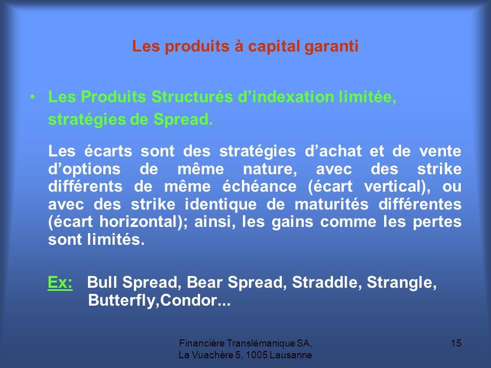 Financière Translémanique SA, La Vuachère 5, 1005 Lausanne 15 Les Produits Structurés dindexation limitée, stratégies de Spread. Les écarts sont des s