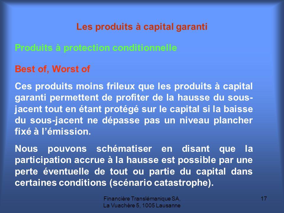 Financière Translémanique SA, La Vuachère 5, 1005 Lausanne 17 Produits à protection conditionnelle Les produits à capital garanti Best of, Worst of Ce