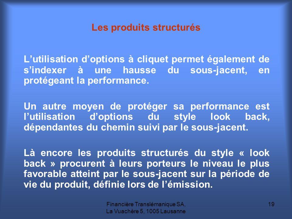 Financière Translémanique SA, La Vuachère 5, 1005 Lausanne 19 Lutilisation doptions à cliquet permet également de sindexer à une hausse du sous-jacent