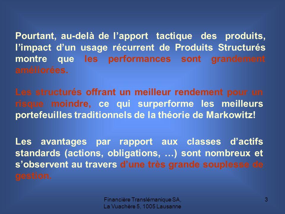 Financière Translémanique SA, La Vuachère 5, 1005 Lausanne 3 Les avantages par rapport aux classes dactifs standards (actions, obligations, …) sont no