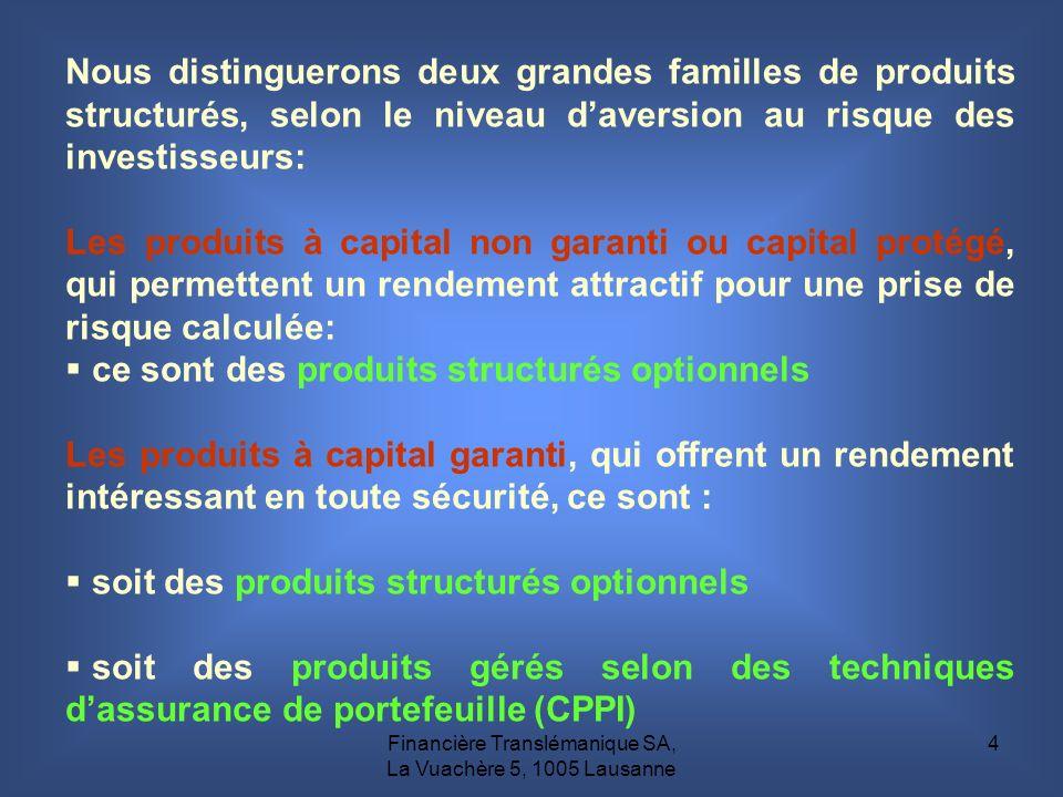 Financière Translémanique SA, La Vuachère 5, 1005 Lausanne 4 Nous distinguerons deux grandes familles de produits structurés, selon le niveau daversio