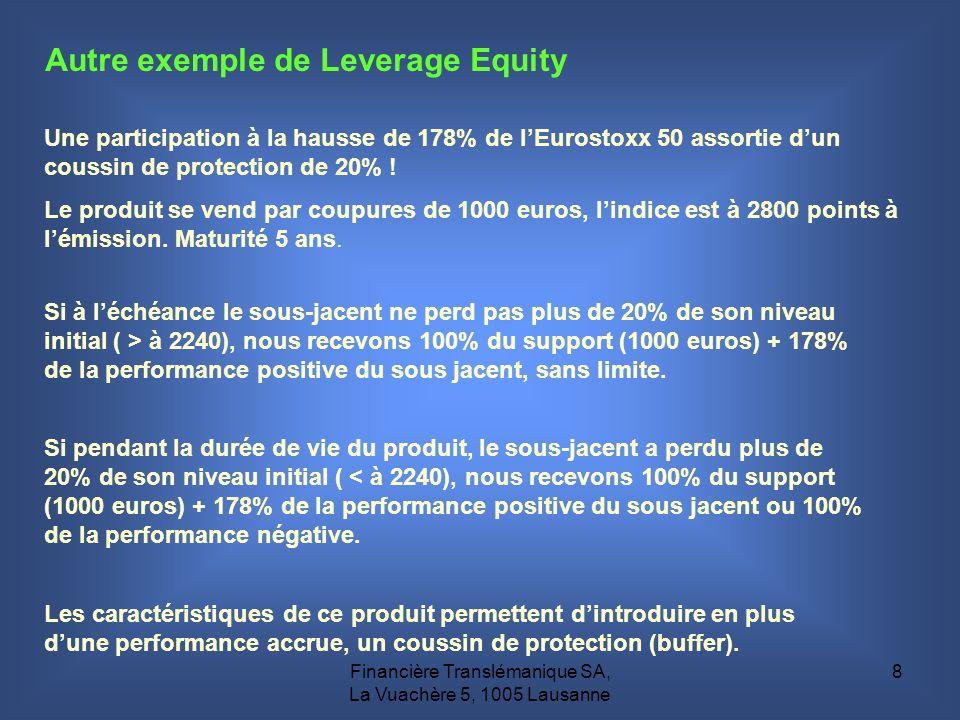 Financière Translémanique SA, La Vuachère 5, 1005 Lausanne 8 Autre exemple de Leverage Equity Une participation à la hausse de 178% de lEurostoxx 50 a