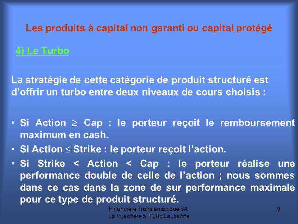 Financière Translémanique SA, La Vuachère 5, 1005 Lausanne 9 Les produits à capital non garanti ou capital protégé 4) Le Turbo La stratégie de cette c
