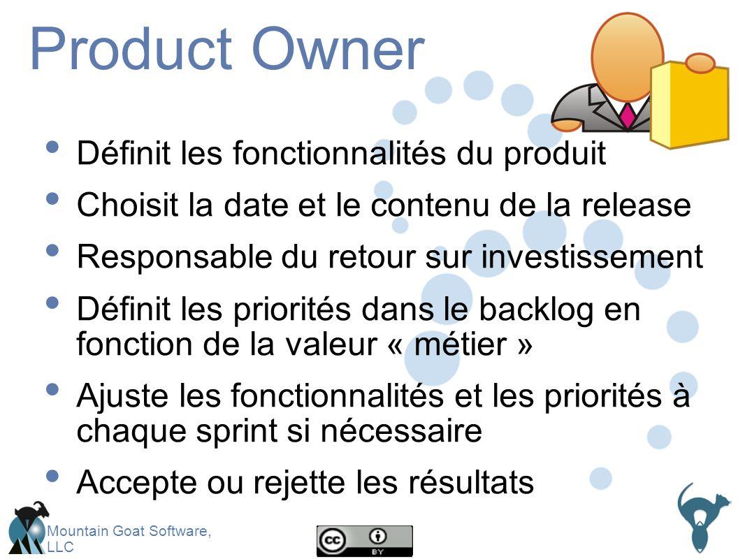 Mountain Goat Software, LLC Product Owner Définit les fonctionnalités du produit Choisit la date et le contenu de la release Responsable du retour sur investissement Définit les priorités dans le backlog en fonction de la valeur « métier » Ajuste les fonctionnalités et les priorités à chaque sprint si nécessaire Accepte ou rejette les résultats