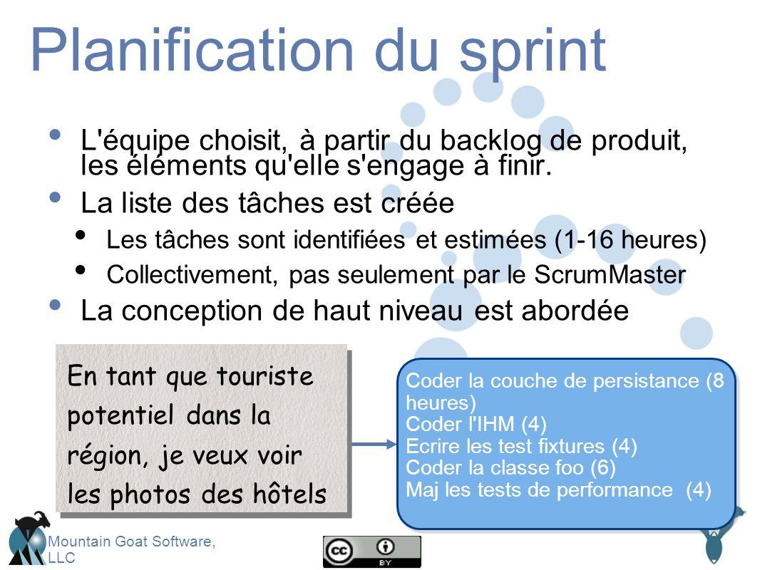 Mountain Goat Software, LLC Planification du sprint L équipe choisit, à partir du backlog de produit, les éléments qu elle s engage à finir.