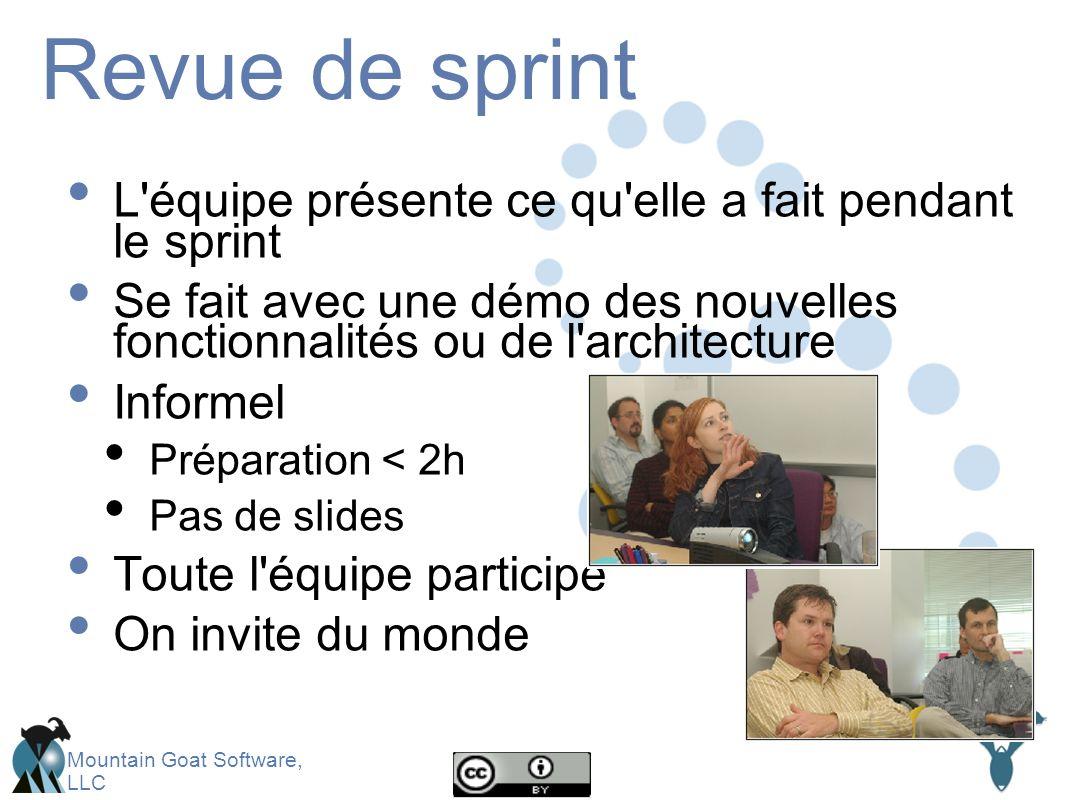 Mountain Goat Software, LLC Revue de sprint L équipe présente ce qu elle a fait pendant le sprint Se fait avec une démo des nouvelles fonctionnalités ou de l architecture Informel Préparation < 2h Pas de slides Toute l équipe participe On invite du monde