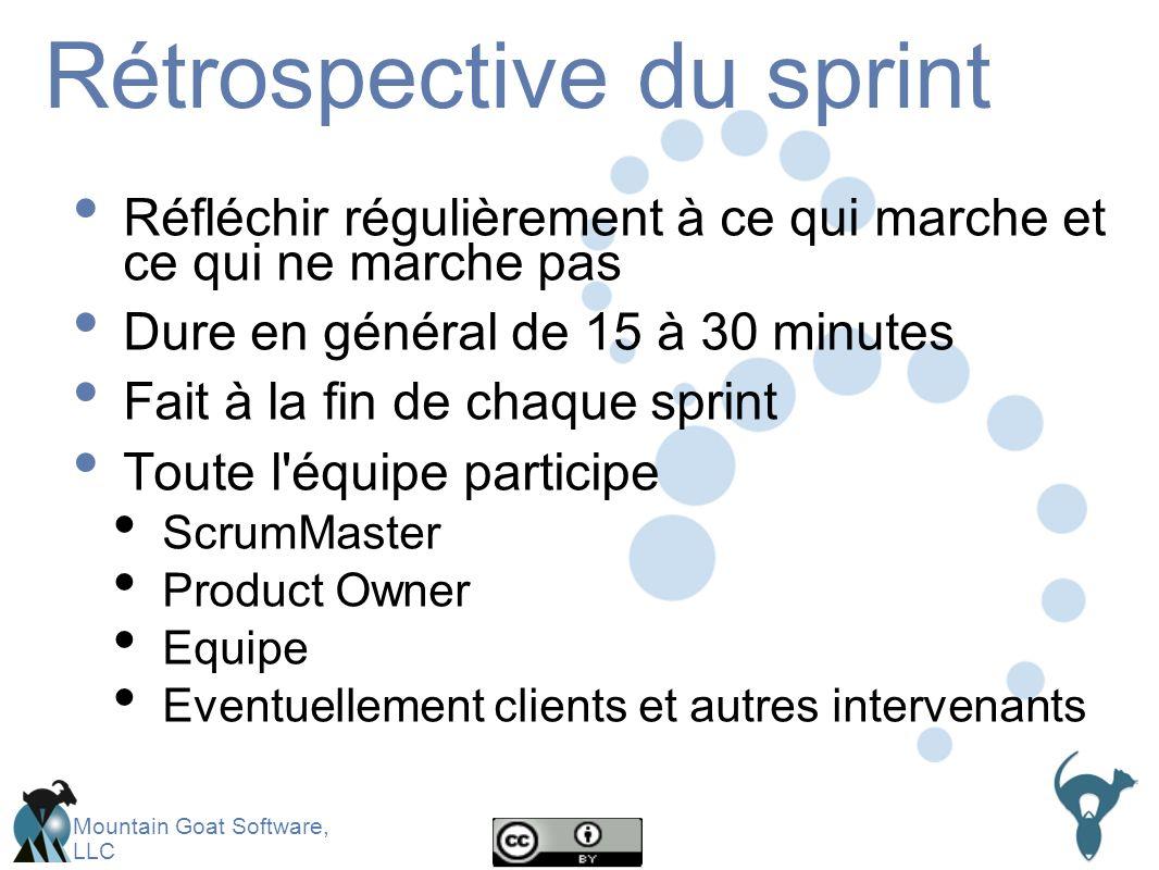 Mountain Goat Software, LLC Rétrospective du sprint Réfléchir régulièrement à ce qui marche et ce qui ne marche pas Dure en général de 15 à 30 minutes Fait à la fin de chaque sprint Toute l équipe participe ScrumMaster Product Owner Equipe Eventuellement clients et autres intervenants