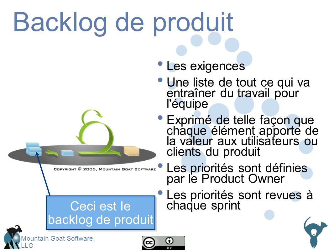 Mountain Goat Software, LLC Backlog de produit Les exigences Une liste de tout ce qui va entraîner du travail pour l équipe Exprimé de telle façon que chaque élément apporte de la valeur aux utilisateurs ou clients du produit Les priorités sont définies par le Product Owner Les priorités sont revues à chaque sprint Ceci est le backlog de produit