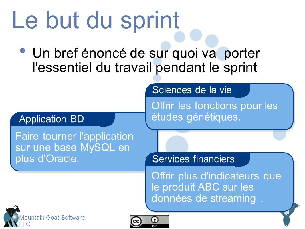 Mountain Goat Software, LLC Le but du sprint Un bref énoncé de sur quoi va porter l essentiel du travail pendant le sprint Application BD Services financiers Sciences de la vie Offrir les fonctions pour les études génétiques.