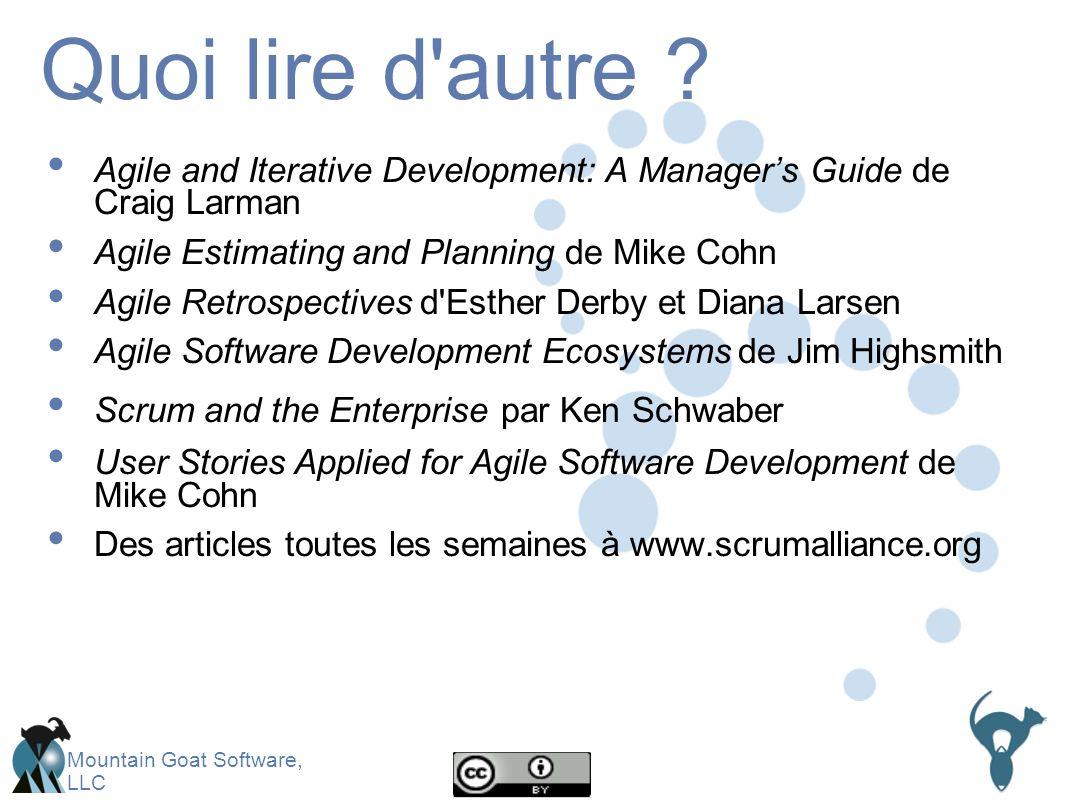 Mountain Goat Software, LLC Quoi lire d autre .