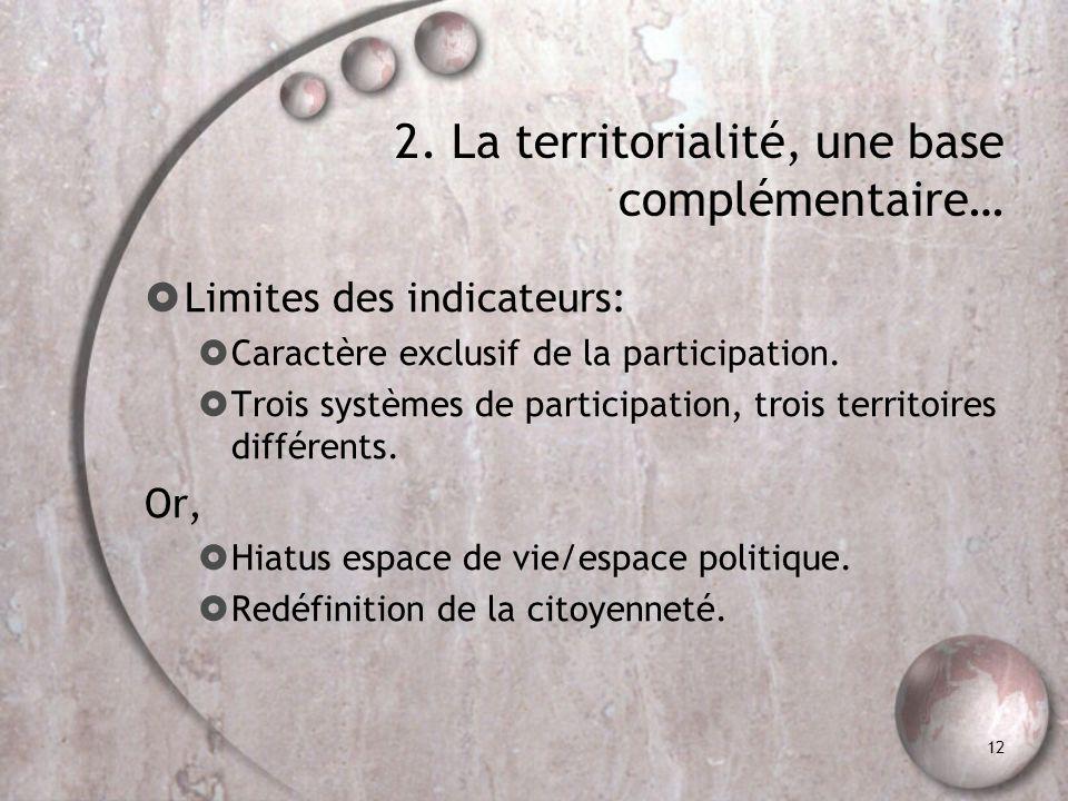 12 2. La territorialité, une base complémentaire… Limites des indicateurs: Caractère exclusif de la participation. Trois systèmes de participation, tr