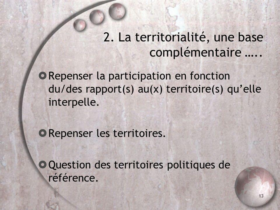 13 2. La territorialité, une base complémentaire ….. Repenser la participation en fonction du/des rapport(s) au(x) territoire(s) quelle interpelle. Re