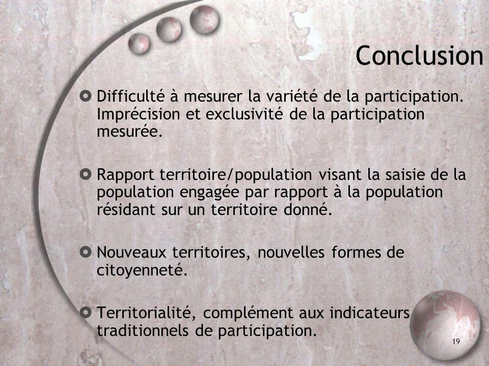 19 Conclusion Difficulté à mesurer la variété de la participation. Imprécision et exclusivité de la participation mesurée. Rapport territoire/populati