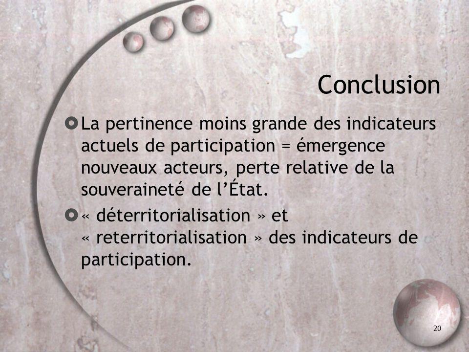20 Conclusion La pertinence moins grande des indicateurs actuels de participation = émergence nouveaux acteurs, perte relative de la souveraineté de l