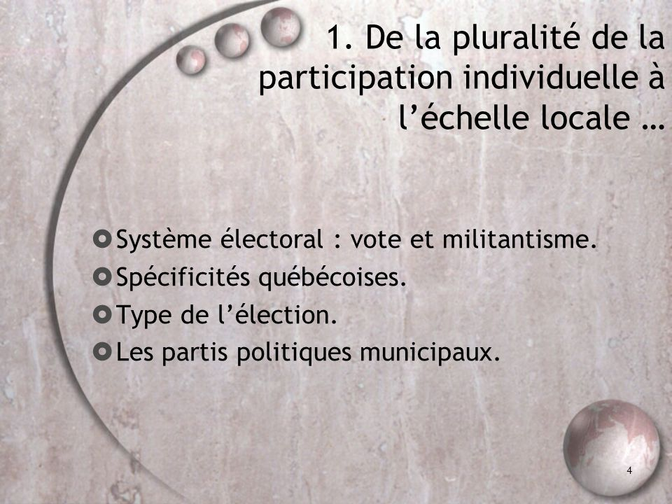 4 1. De la pluralité de la participation individuelle à léchelle locale … Système électoral : vote et militantisme. Spécificités québécoises. Type de