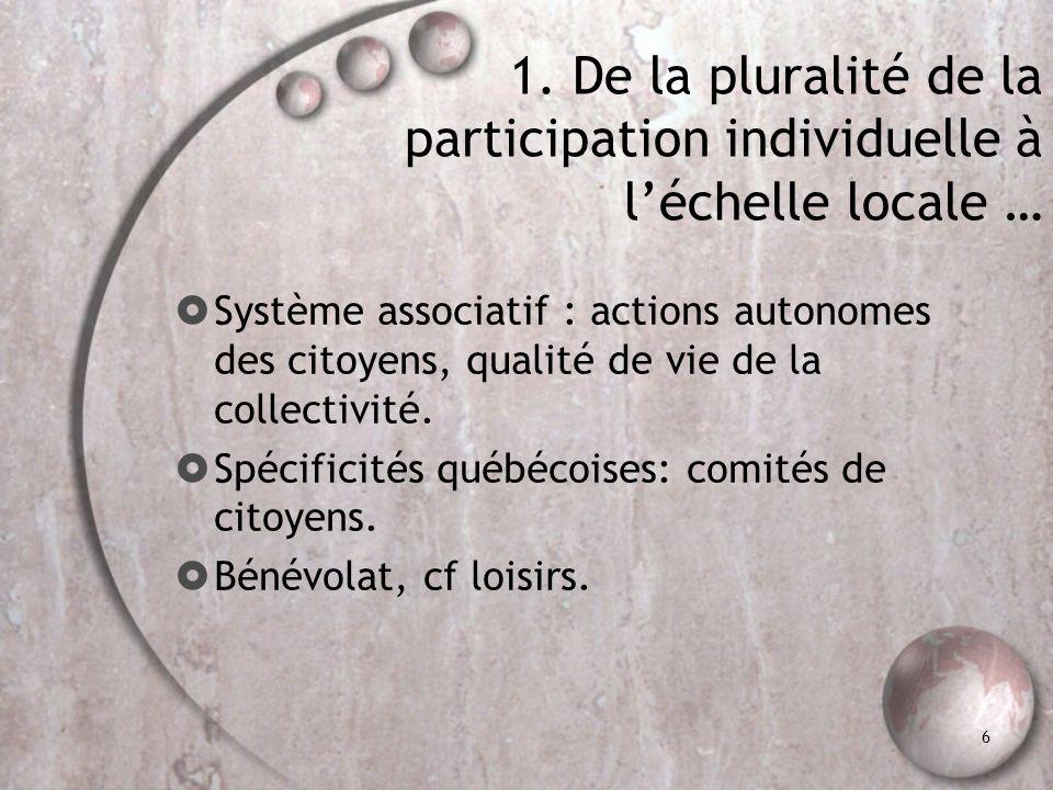 6 1. De la pluralité de la participation individuelle à léchelle locale … Système associatif : actions autonomes des citoyens, qualité de vie de la co
