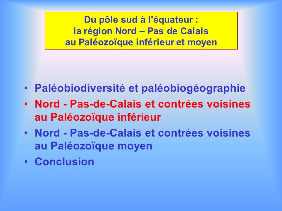 Du pôle sud à l'équateur : la région Nord – Pas de Calais au Paléozoïque inférieur et moyen Paléobiodiversité et paléobiogéographie Nord - Pas-de-Cala