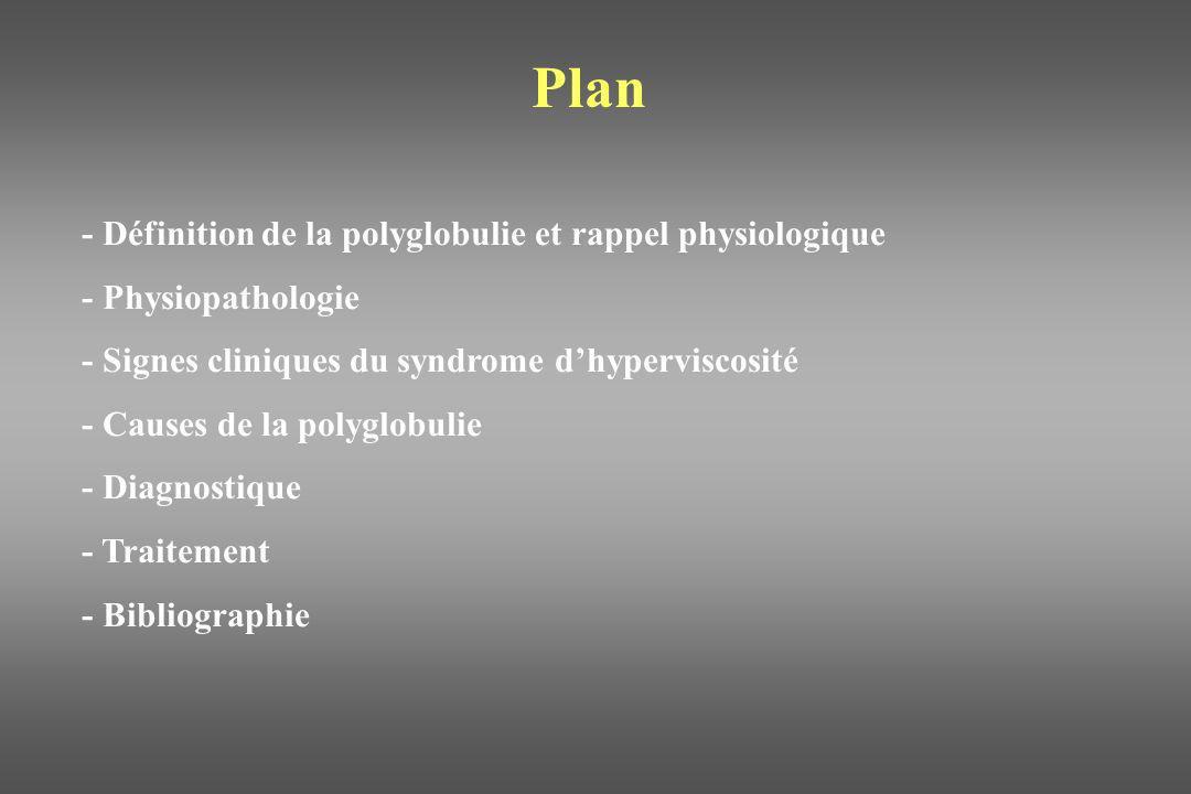 Définition et rappel physiologie La polyglobulie est définie par une hématocrite veineuse > 65%.