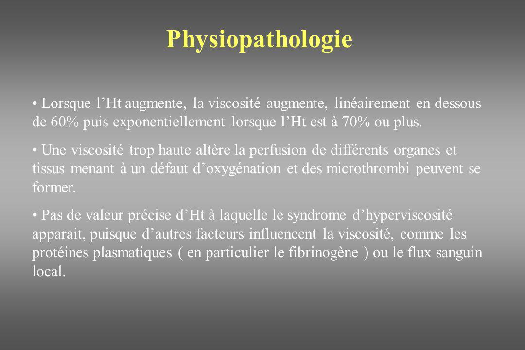 Physiopathologie Lorsque lHt augmente, la viscosité augmente, linéairement en dessous de 60% puis exponentiellement lorsque lHt est à 70% ou plus. Une
