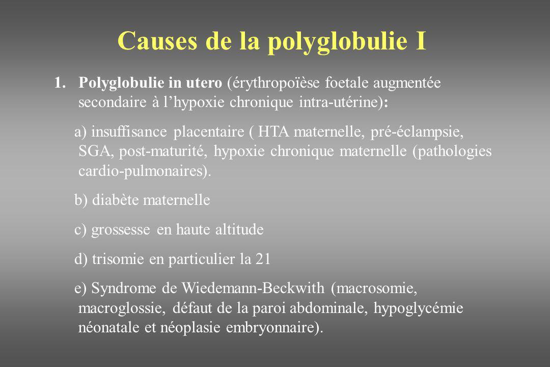 Causes de la polyglobulie I 1.Polyglobulie in utero (érythropoïèse foetale augmentée secondaire à lhypoxie chronique intra-utérine): a) insuffisance p