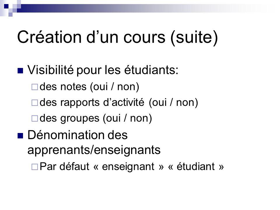 Création dun cours (suite) Visibilité pour les étudiants: des notes (oui / non) des rapports dactivité (oui / non) des groupes (oui / non) Dénomination des apprenants/enseignants Par défaut « enseignant » « étudiant »