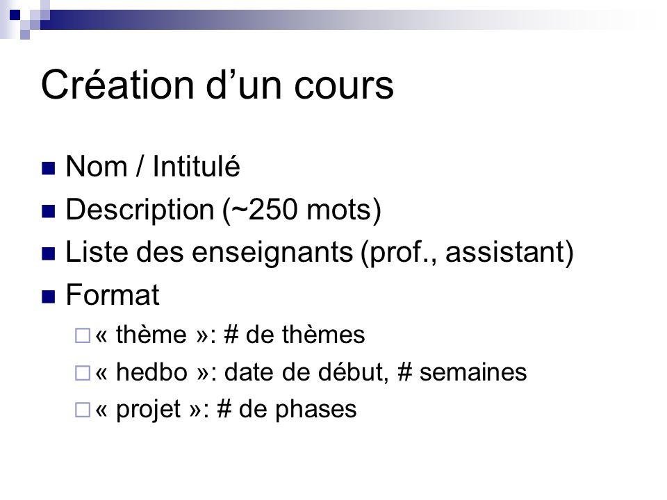 Création dun cours Nom / Intitulé Description (~250 mots) Liste des enseignants (prof., assistant) Format « thème »: # de thèmes « hedbo »: date de début, # semaines « projet »: # de phases