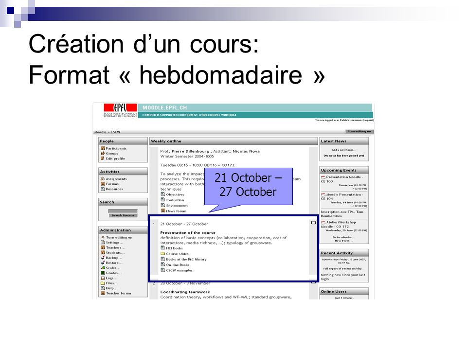 Création dun cours: Format « hebdomadaire » 21 October – 27 October