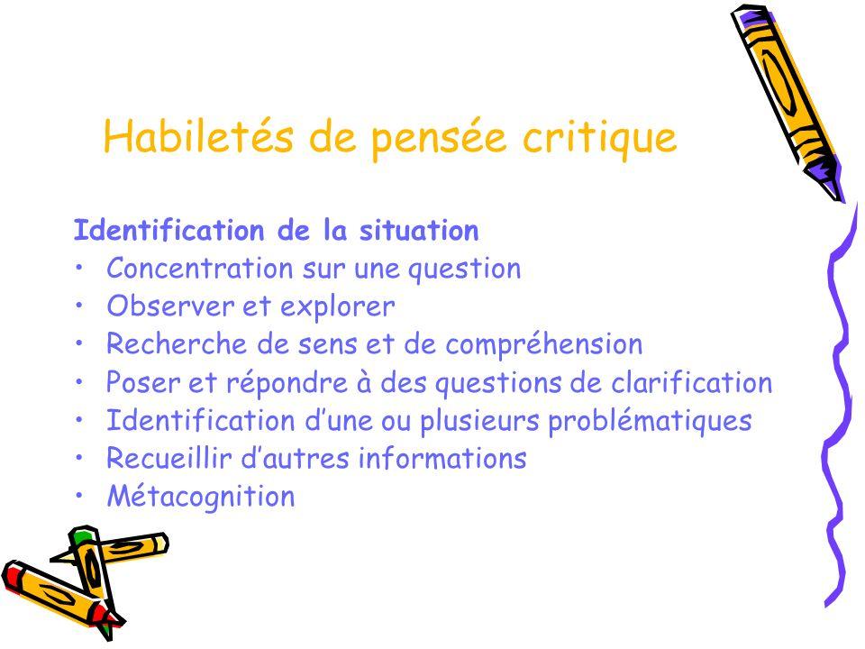 Habiletés de pensée critique Identification de la situation Concentration sur une question Observer et explorer Recherche de sens et de compréhension