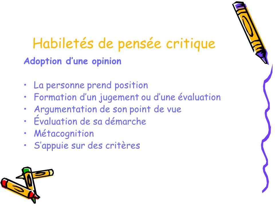 Habiletés de pensée critique Adoption dune opinion La personne prend position Formation dun jugement ou dune évaluation Argumentation de son point de