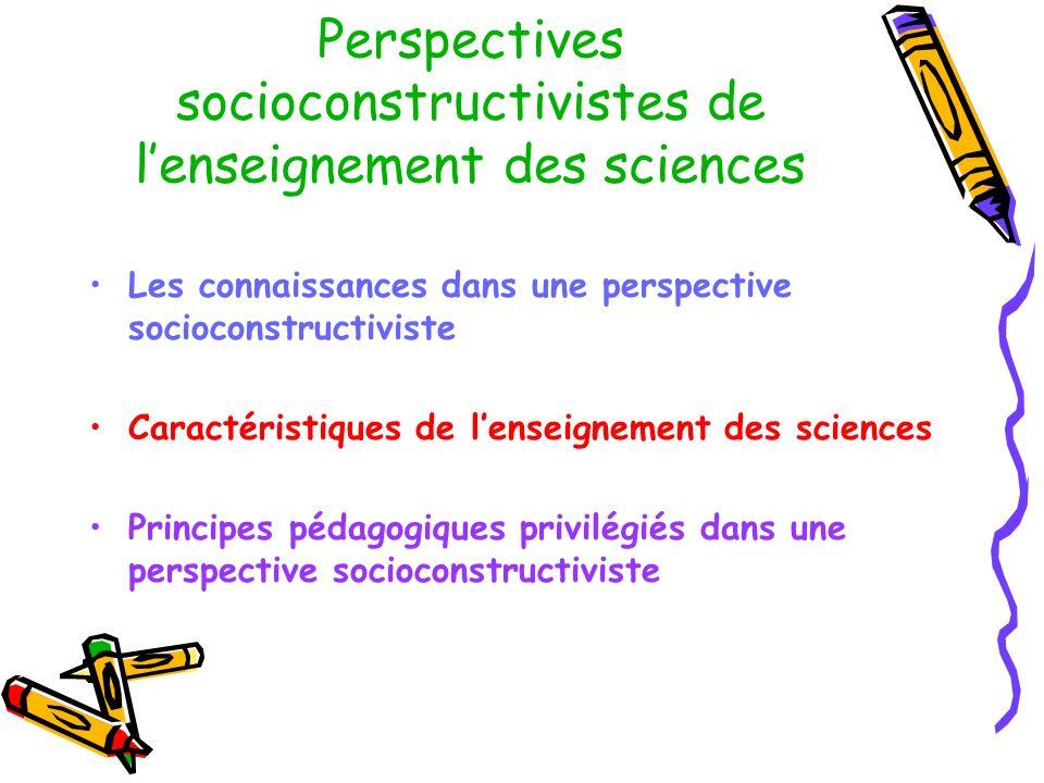 Perspectives socioconstructivistes de lenseignement des sciences Les connaissances dans une perspective socioconstructiviste Caractéristiques de lense
