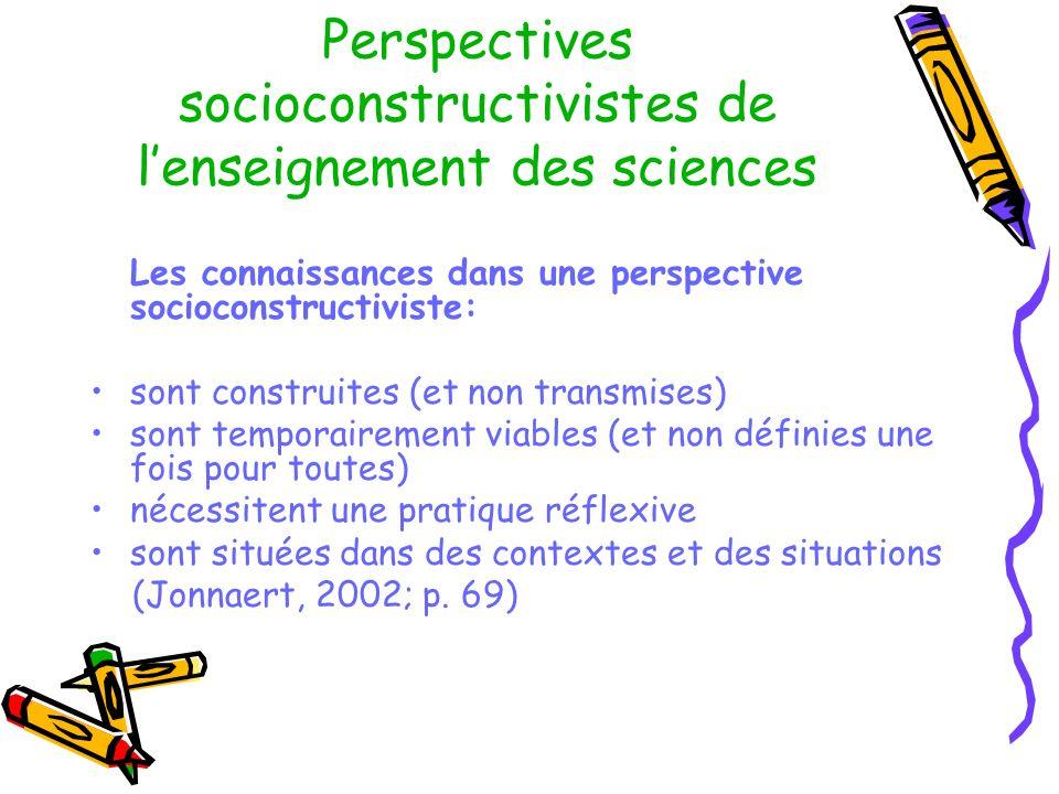 Perspectives socioconstructivistes de lenseignement des sciences Les connaissances dans une perspective socioconstructiviste: sont construites (et non