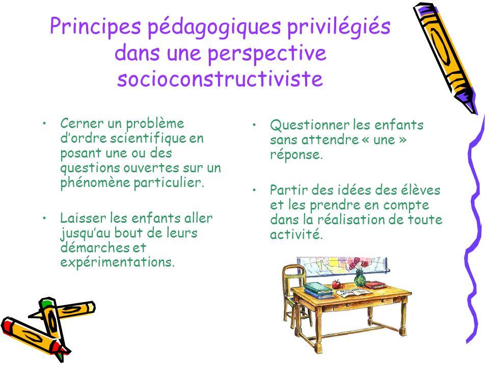 Principes pédagogiques privilégiés dans une perspective socioconstructiviste Cerner un problème dordre scientifique en posant une ou des questions ouv
