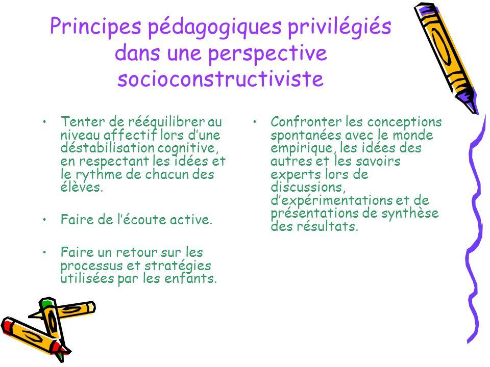 Principes pédagogiques privilégiés dans une perspective socioconstructiviste Tenter de rééquilibrer au niveau affectif lors dune déstabilisation cogni
