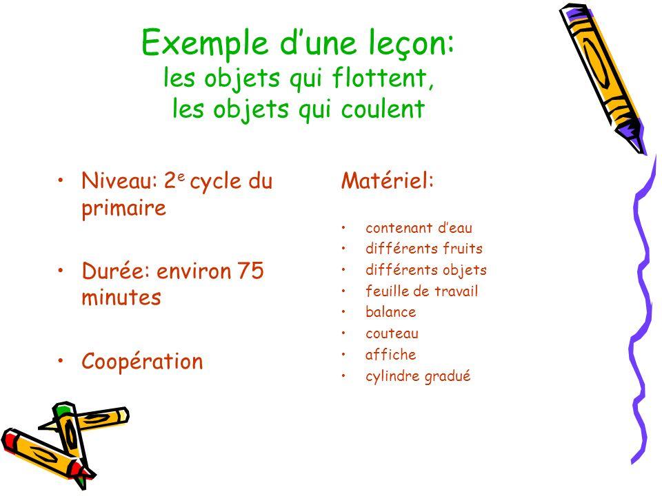 Exemple dune leçon: les objets qui flottent, les objets qui coulent Niveau: 2 e cycle du primaire Durée: environ 75 minutes Coopération Matériel: cont