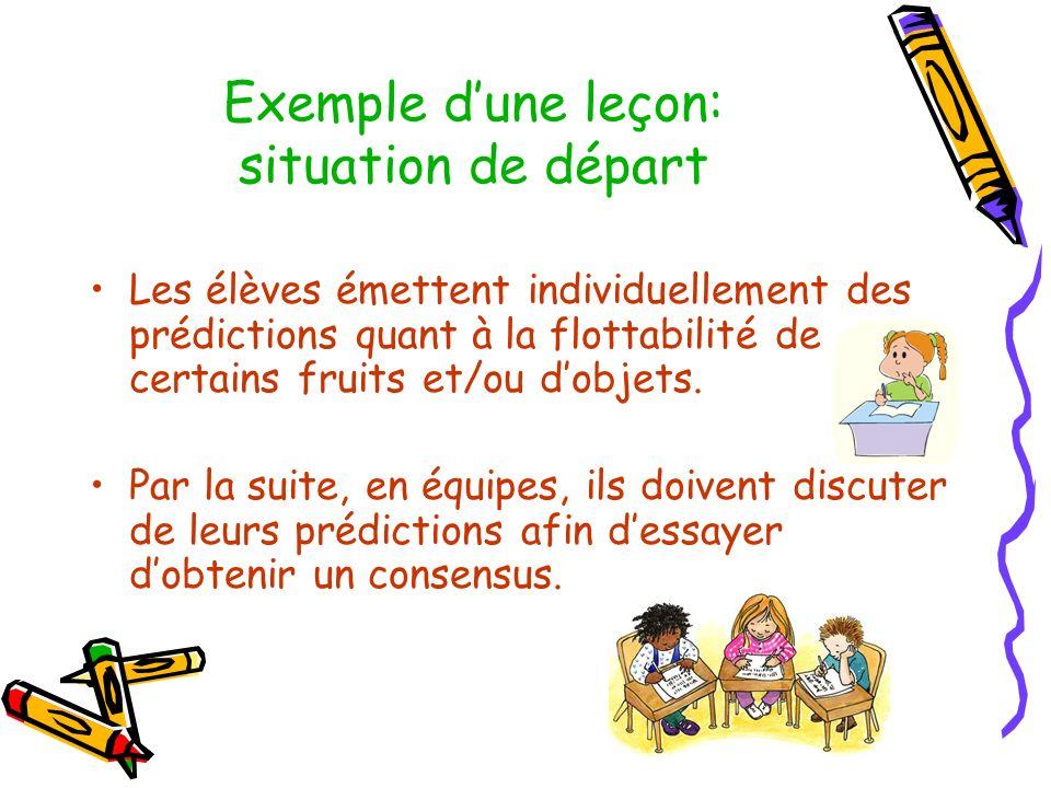 Exemple dune leçon: situation de départ Les élèves émettent individuellement des prédictions quant à la flottabilité de certains fruits et/ou dobjets.