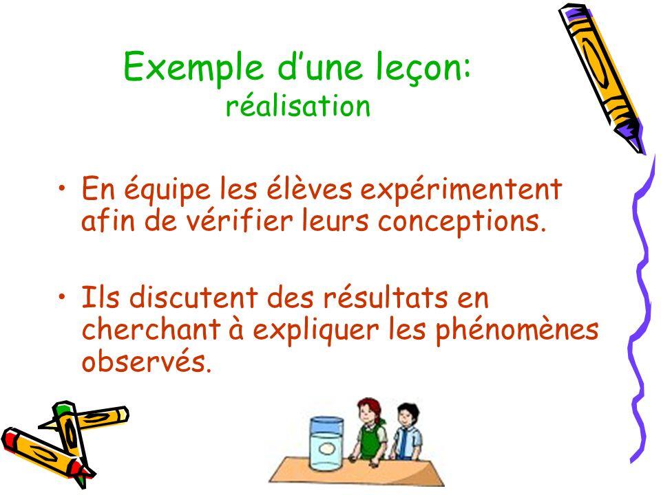 Exemple dune leçon: réalisation En équipe les élèves expérimentent afin de vérifier leurs conceptions. Ils discutent des résultats en cherchant à expl