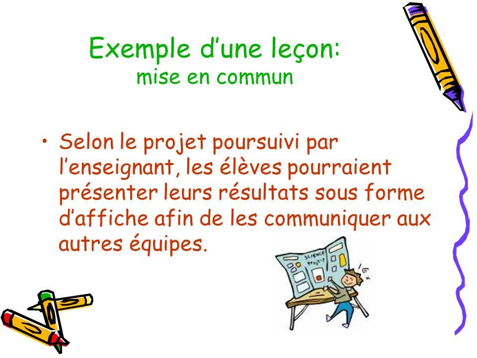 Exemple dune leçon: mise en commun Selon le projet poursuivi par lenseignant, les élèves pourraient présenter leurs résultats sous forme daffiche afin